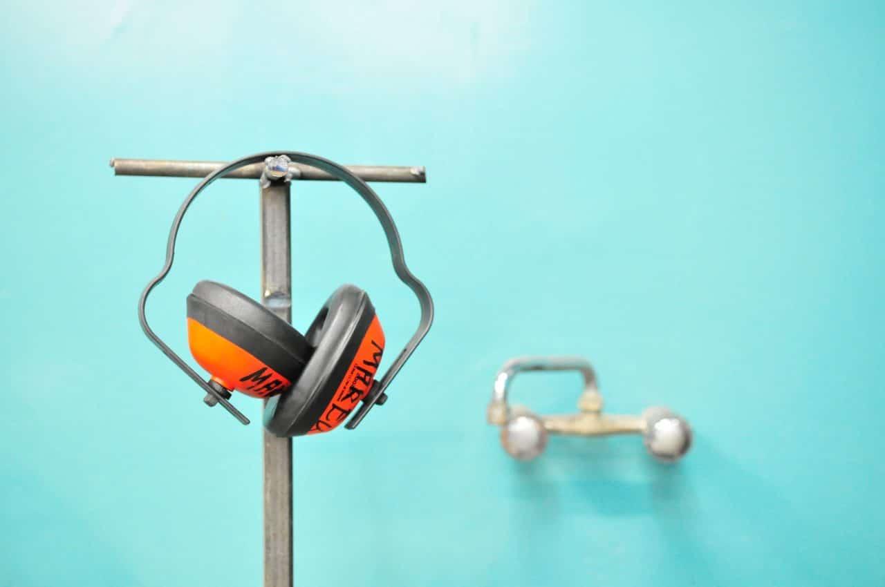 Orange earmuffs for work